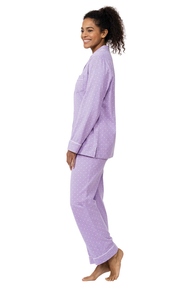 Model wearing Purple Pin Dot Button-Front PJ for Women facing to the side image number 2