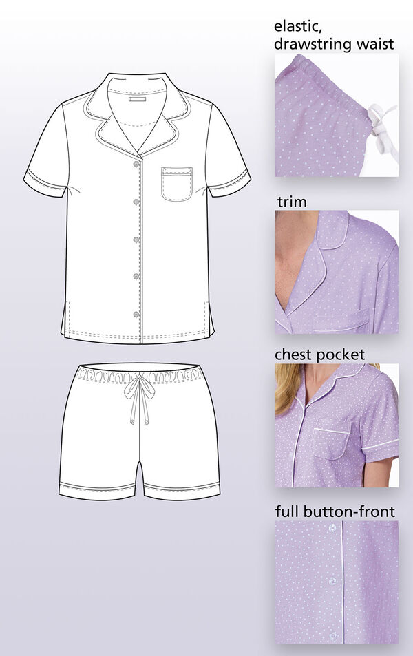 Close-ups of the features of Oh-So-Soft Pin Dot Short Set such as elastic, drawstring waist, trim, chest pocket and full button-front. image number 4