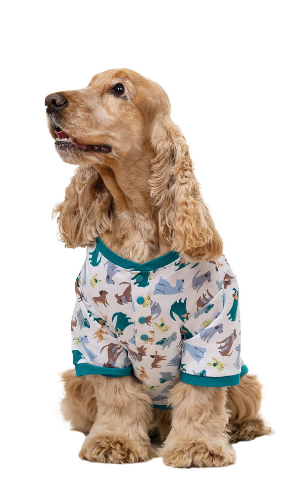 Teal and White Dog Print Pajama for Dogs image number 0
