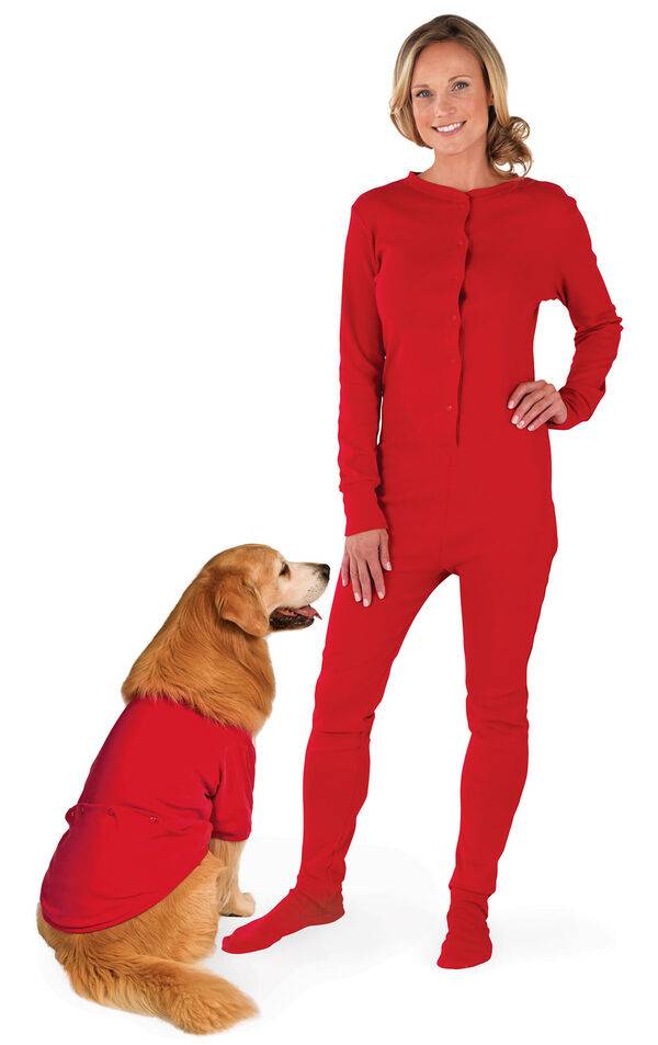 Models wearing Red Dropseat Onesie PJ for Pet and Owner image number 0