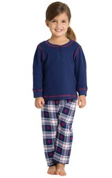 Model wearing Dark Blue Snowflake Plaid Thermal Top PJ for Toddlers