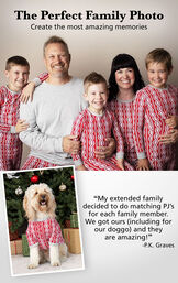 Family wearing matching Peppermint Twist PJs for the Perfect Family Photo. Customer Quote: My extended family decided to do matching PJs for each family member. We got our (including for our doggo) and they are amazing! -PK Graves image number 2