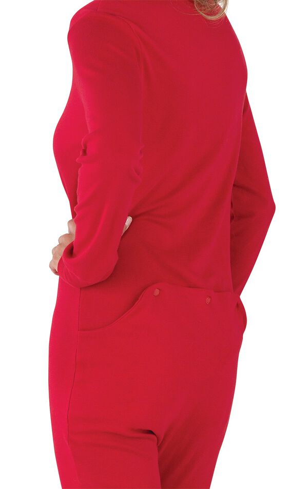 Close up Red Dropseat Women's Pajamas red snap dropseat image number 4
