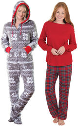 Models wearing Hoodie-Footie - Nordic Fleece and Stewart Plaid Thermal-Top Pajamas.