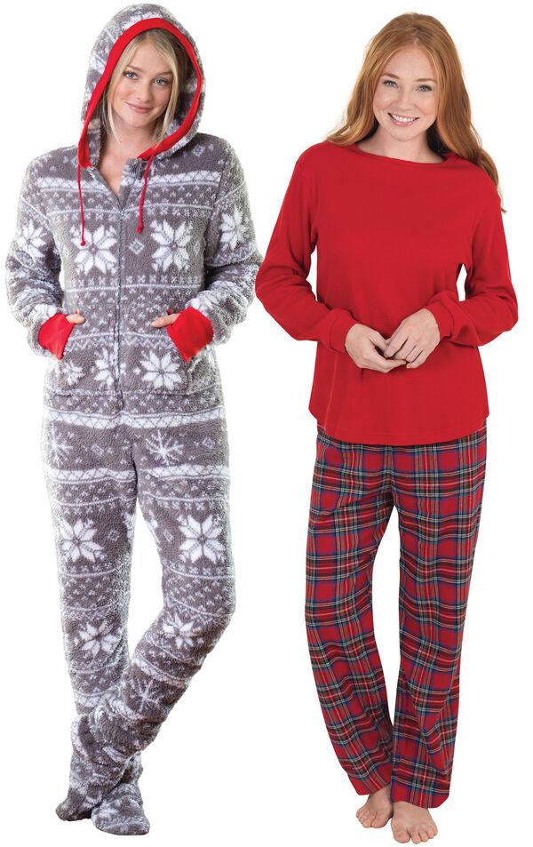 Models wearing Hoodie-Footie - Nordic Fleece and Stewart Plaid Thermal-Top Pajamas. image number 0
