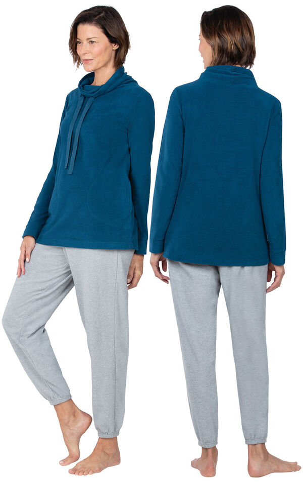Model wearing Heather Gray - Teal Top Fleece Jogger PJ for Women, facing away from the camera and then to the side image number 1