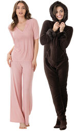Models wearing Naturally Nude PJs and Hoodie-Footie  - Mink Chocolate.