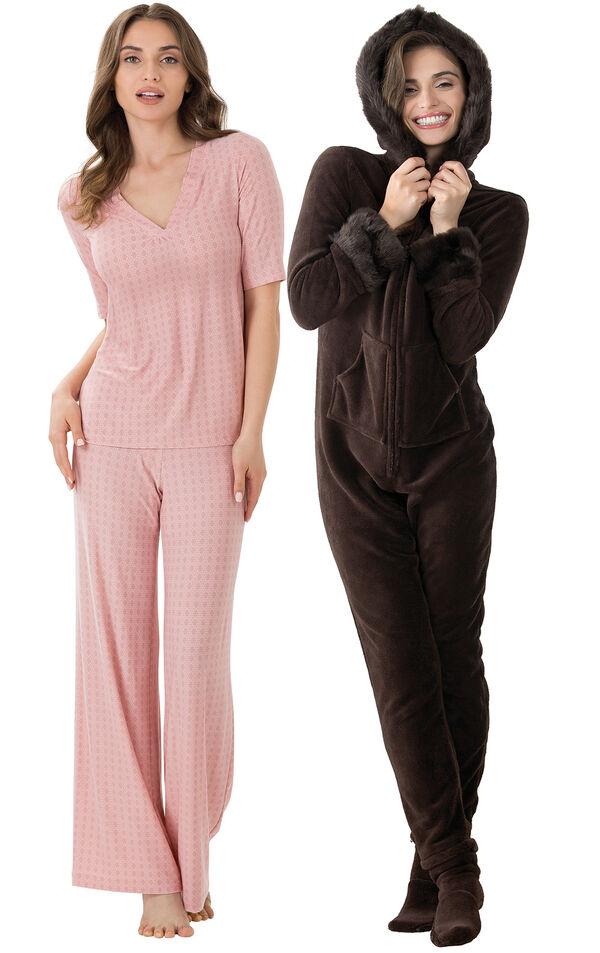 Models wearing Naturally Nude PJs and Hoodie-Footie  - Mink Chocolate. image number 0