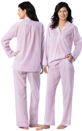 Model wearing Mauve and White Stripe PJ for Women, facing away from the camera and then to the side image number 1