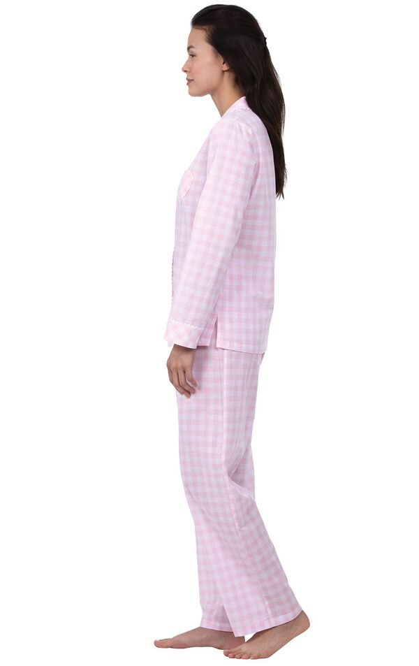 Model wearing Pink and White Gingham Button-Front PJ for Women, facing to the side image number 2