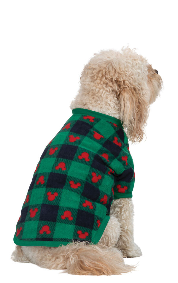 Dog wearing Red and Green Mickey Holiday fleece Pajamas, facing to the side image number 1