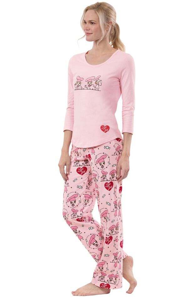 "Model wearing Pink and Red ""I Love Lucy"" Chocolate Factory Pajamas, facing to the side image number 2"