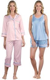 Models wearing Dreamy Satin Capri Pajamas and Dreamy Satin Short Set.
