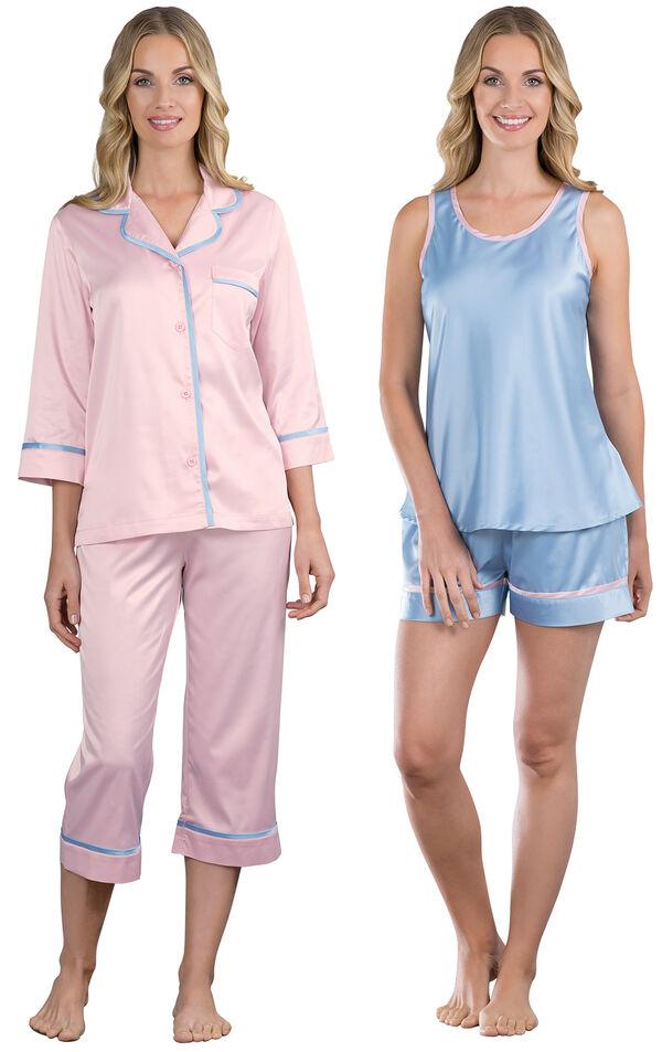 Models wearing Dreamy Satin Capri Pajamas and Dreamy Satin Short Set. image number 0