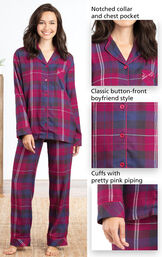 Close-Ups of Pink Plaid Button-Front PJ for Women features with include a notched collar and chest pocket, classic button-front boyfriend style and cuffs with pretty pink piping image number 4