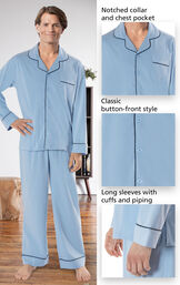 Close-ups of the features of Light Blue Solid Knit Button-Front PJs which include notched collar and chest pocket, classic button-front style and long sleeves with cuffs and piping image number 3