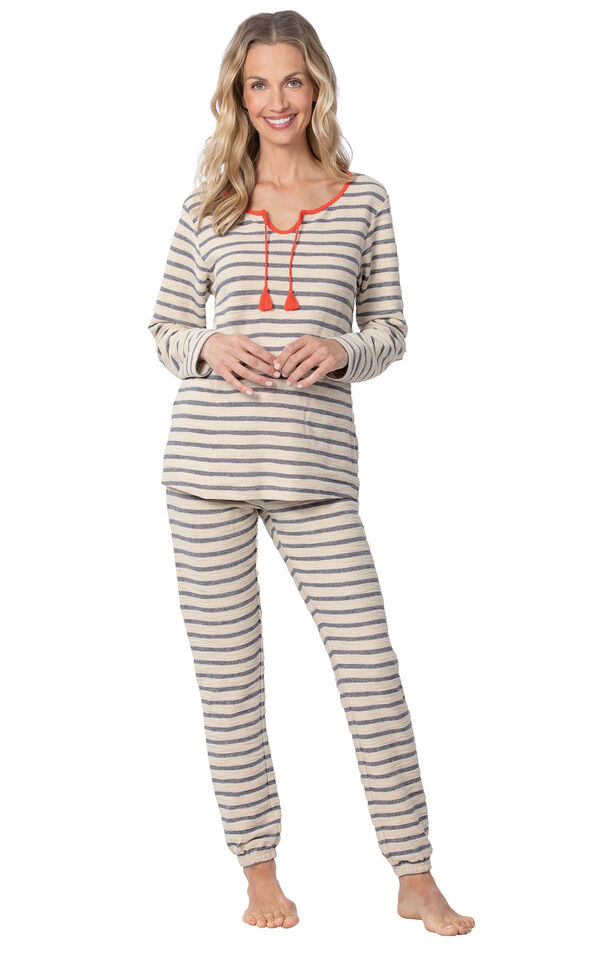 Model wearing Blue and White Stripe PJ with Coral Tie Neck for Women image number 0
