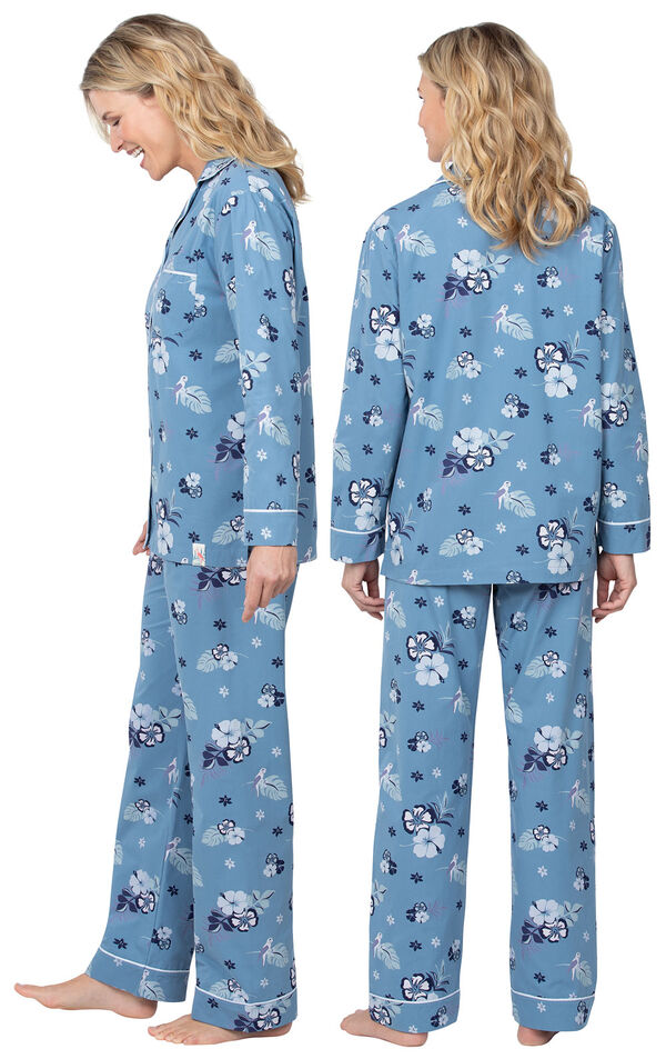 Model wearing Blue Margaritaville Button-Front PJ for Women, facing away from the camera and then to the side image number 1