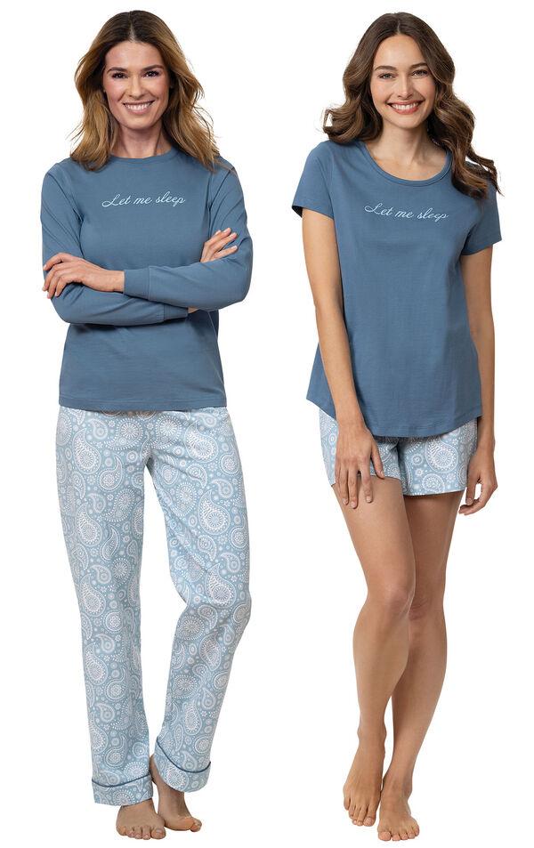 """Models wearing """"Let Me Sleep"""" Pajamas and """"Let Me Sleep"""" Short Set image number 0"""