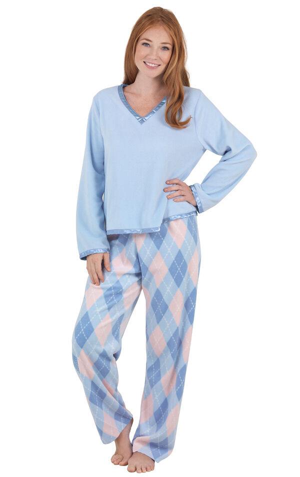 Model wearing Blue and Pink Argyle PJ - Petite for Women image number 0