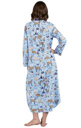 Model wearing Light Blue Dog Tired Print Gown for Women, facing away from the camera image number 1