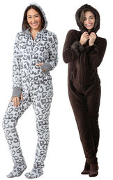Models wearing Hoodie-Footie - Snow Leopard and Hoodie-Footie - Mink Chocolate. image number 0