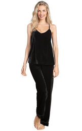 Model wearing Black Velour Cami PJ with Satin Trim for Women image number 0