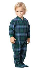 Model wearing Green and Blue Plaid Onesie PJ for Infants image number 0
