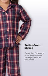 Plum Plaid Button-Front PJ for Youth image number 2