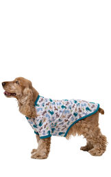 Dog wearing Teal and White Dog Print Pajama for Dogs, standing and facing to the side image number 2