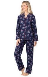 Model wearing Navy Blue Margaritaville Button-Front PJ for Women image number 1