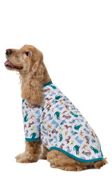 Dog wearing Teal and White Dog Print Pajama for Dogs, sitting down image number 1