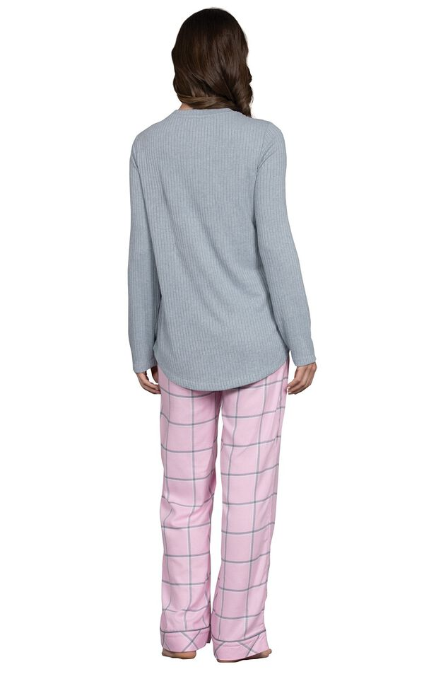 Model wearing Light Pink and Gray Plaid Thermal Top PJ for Women, facing away from the camera image number 1