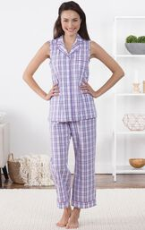 Model standing in living room wearing Purple and White Perfectly Plaid Sleeveless Capri Pajamas image number 6