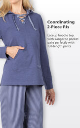 Coordinating 2-Piece PJs - lace up hoodie top with kangaroo pocket pairs perfectly with full-length pants image number 3