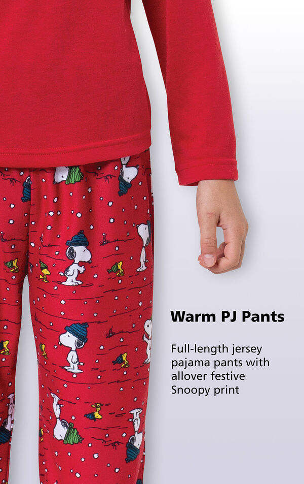 Close-up of warm red PJ pants with the following copy: full-length jersey pajama pants with allover festive Snoopy print. image number 2