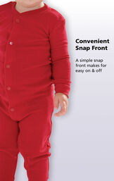 Close up of the Red Dropseat PJ's Convenient Snap Front. A simple snap front makes for easy on and off. image number 2