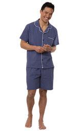 Model wearing Model wearing Navy Stripe Short Sleeve Button-Front Short Set for Men image number 0