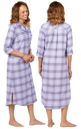 Model wearing Lavender Plaid Gown for Women, facing away from the camera and then to the side image number 1