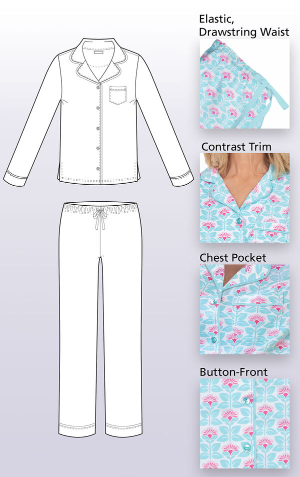 Technical drawing of Modern Floral Boyfriend Pajamas with the following image insets: Elastic, drawstring waist, contrast trim, chest pocket and button-front image number 3
