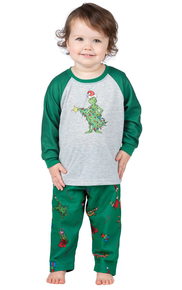 Model wearing Green and Gray Grinch PJ for Infants image number 0