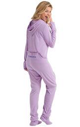 Model wearing Hoodie-Footie Dropseat - Purple Fleece for Women image number 0