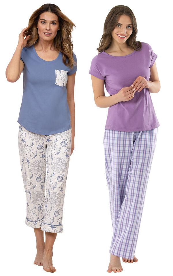 Models wearing Summer Shells Capri Pajamas - Blue and Perfectly Plaid Pajamas image number 0