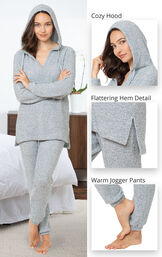 Cozy escape Pajamas feature a cozy hood, flattering hem detail and warm jogger pants image number 4