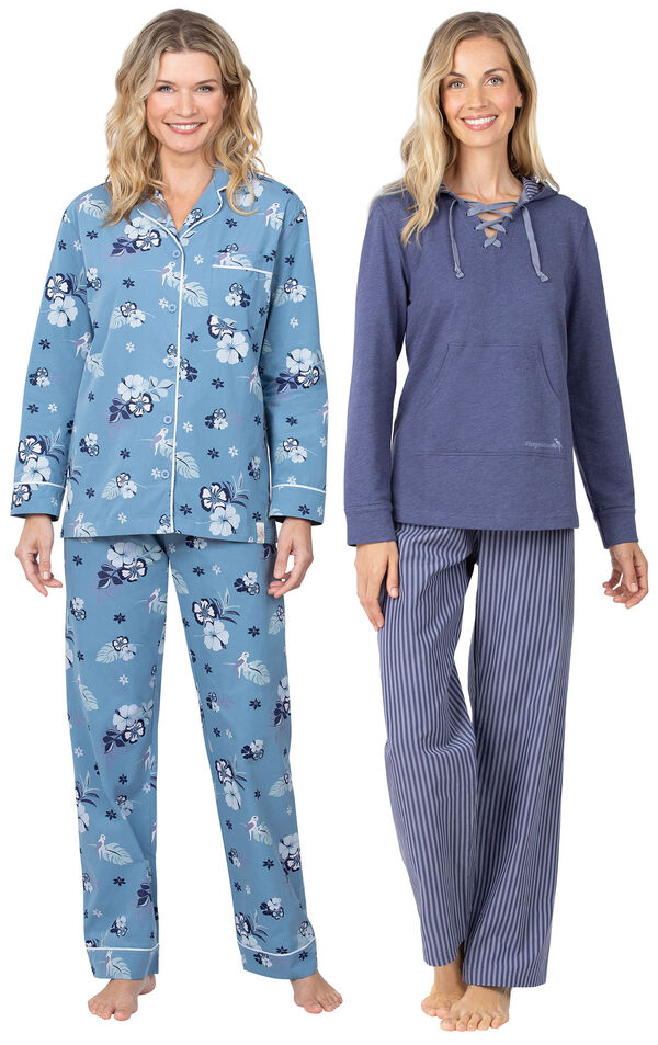 Models wearing Margaritaville Hibiscus Boyfriend Pajamas - Blue and Margaritaville Cool Nights Hoodie Pajamas - Navy. image number 0