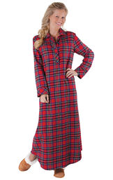 Model wearing Red Classic Plaid Gown for Women image number 0