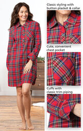 Close-ups of Stewart Plaid Flannel Sleepshirt Details which include Classic styling with button placket and collar, cute convenient chest pocket and cuffs with classic trim piping. image number 3