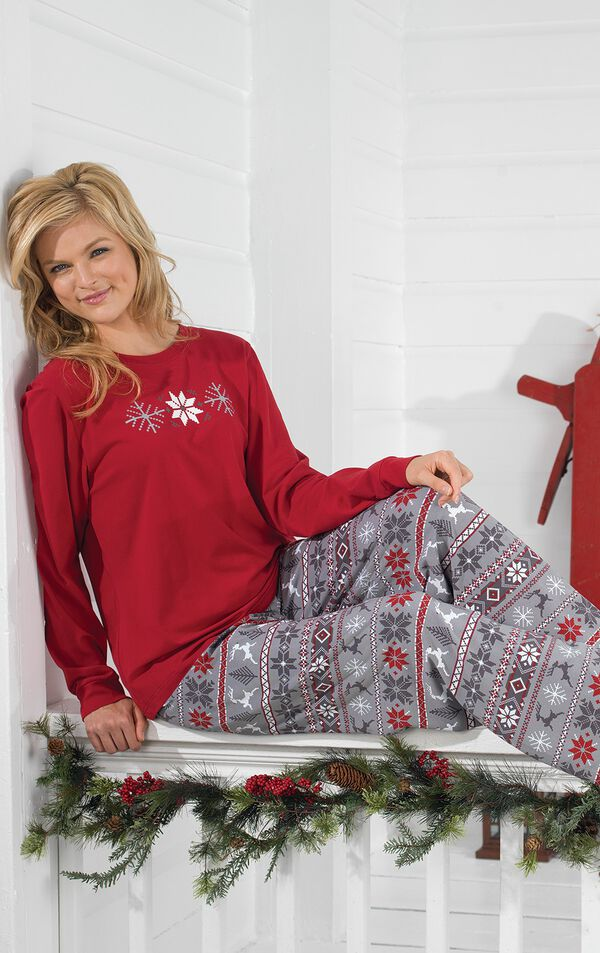 Model sitting down wearing Red and Gray Fair Isle PJ for Women image number 4