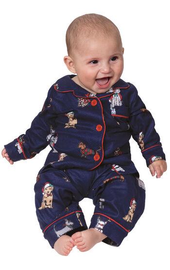 Christmas Dogs Infant Pajamas - Navy Blue