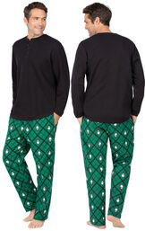 Model wearing Black and Green Snowman Argyle Henley PJ for Men, facing away from the camera and then to the side image number 1